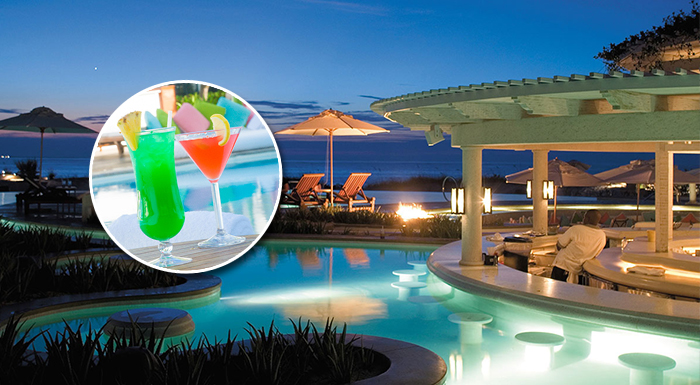 caribbean swim-up pool bars palms turks and caicos