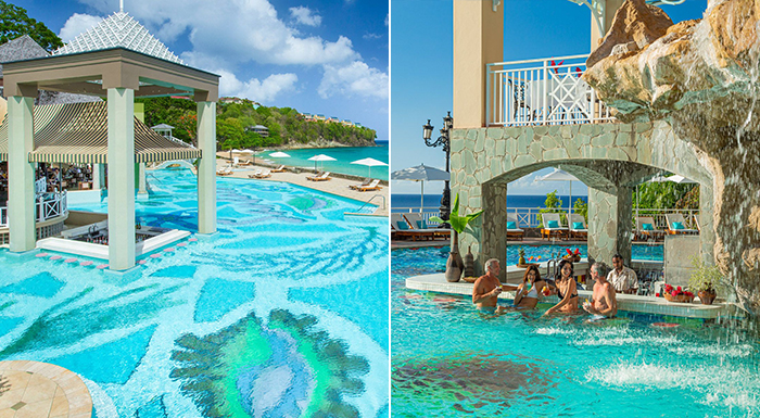 caribbean swim-up pool bars sandals regency la toc saint lucia