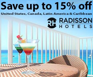 radisson save up to15% usa canada caribbean
