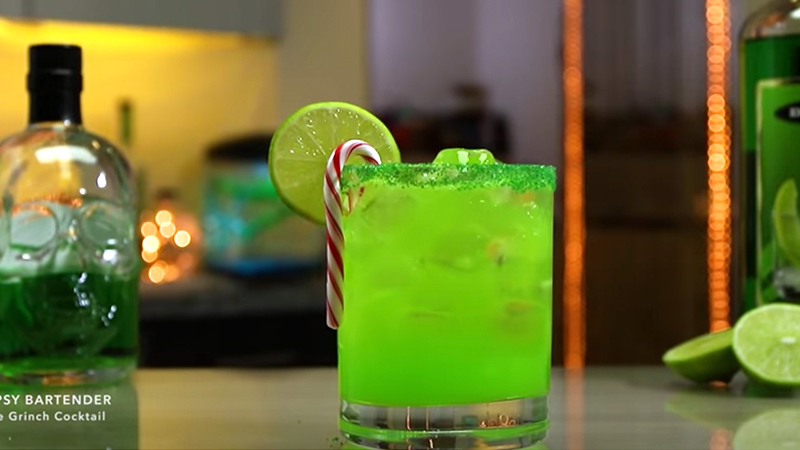 grinch cocktail mixed alcohol