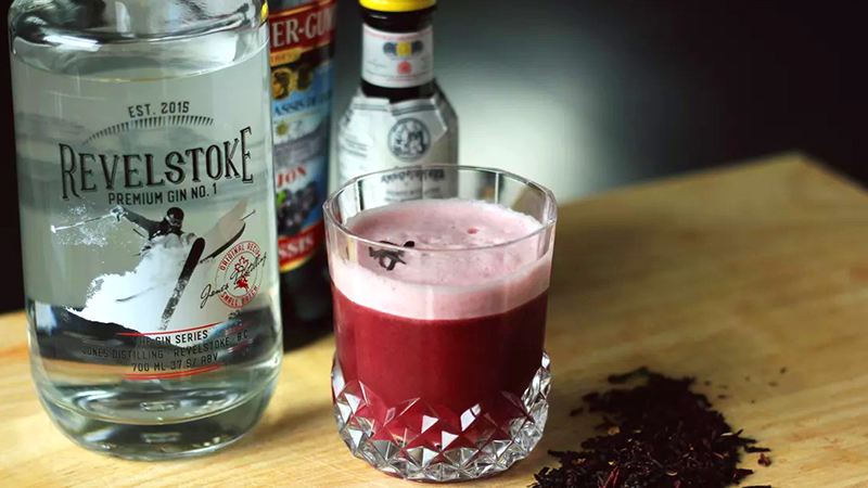 hibiscus gin sour cocktail