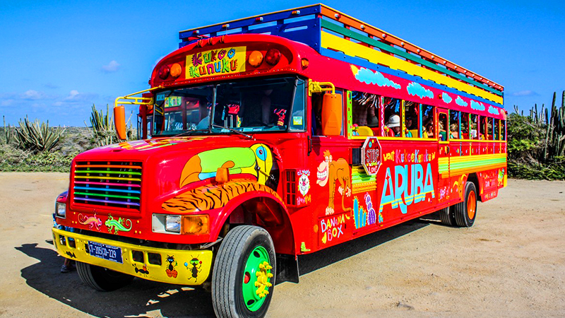fun things to do in oranjestad aruba colorful beach bus sightseeing-tour of aruba bus tour