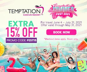 temptation extra 15% off mexico party resort deals